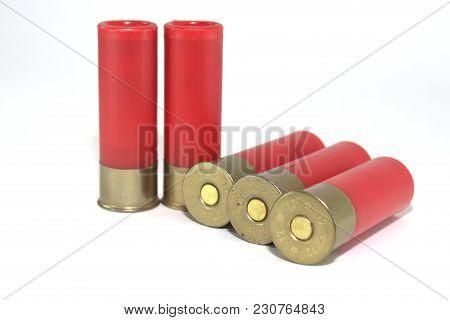 Five Old Shotgun Ammunition For Soviet Shotgun On White Background Closeup