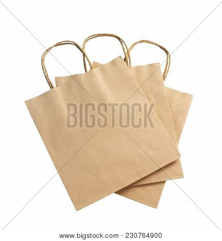 Brown Color Recycled Paper Bag Isolated On White Background, Recyclable Concept.