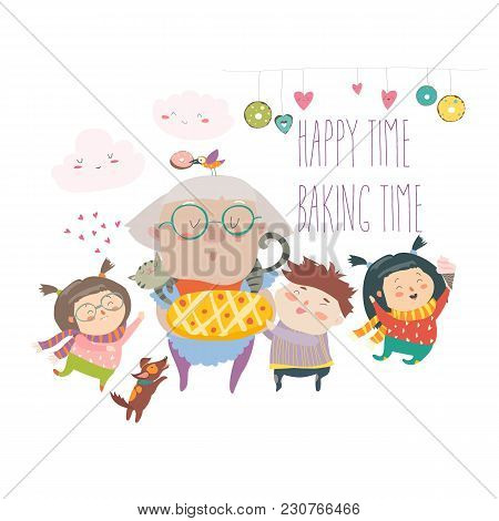 Granny And Her Grandchildren With Cake. Vector Illustration
