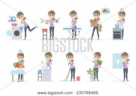 Woman Doing Household Set. Washing And Cleaning.