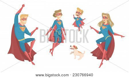 Super Hero Family Flying On White Background.