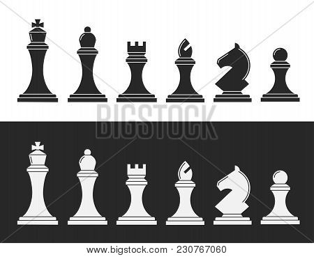 Black And White Chess. 12 Pieces Of Board Game, Pawn, Rook, Knight, Bishop, Queen, King, To Train St