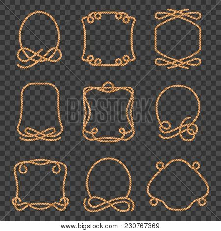 Rope Border Set. Thick Strong Cord In Twisting For Frame Edge Or Boundary Line. Vector Flat Style Ca