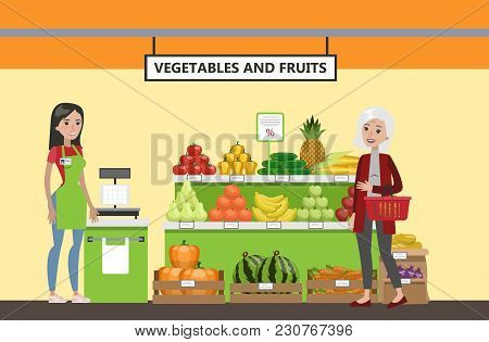 Supermarket Interior Set. Happy People Buying Vegetables And Fruits.