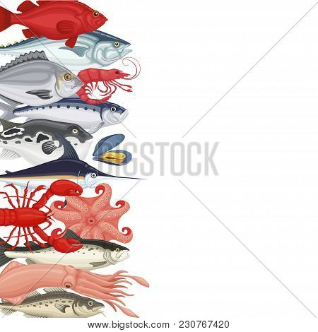 Seafood Background Banner. Poster For Restaurant That Specializes In Seafood Cuisine And Seafood Dis