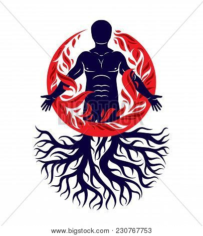 Vector Illustration Of Human Being Created With Tree Roots. Human And Nature Harmony, Fire Man Cover