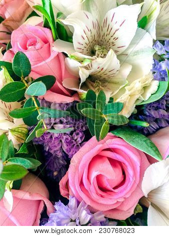 Bouquet Of Flowers. Beautiful Flowers. Vertical. Close-up.