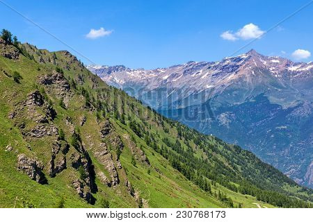 View of mountain slope covered with green grass and trees as mountain ridge on background under blue sky in Piedmont, Northern Italy.