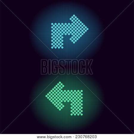 Blue And Green Neon Arrow With Rings. Vector Illustration Of Turning Neon Arrow Consisting Of Many R