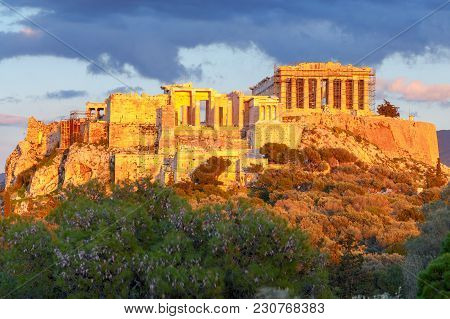 Ancient Greek Temple Parthenon On The Acropolis. Athens. Greece.