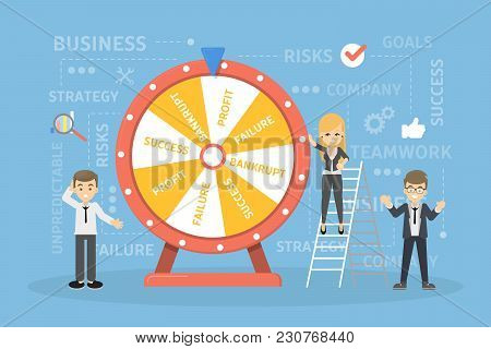 Wheel Of Business Fortune. People Gambling And Gaming.