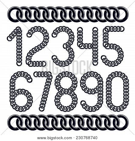 Trendy Numbers Collection, Vector Numeration. Created Using Connected Chain Link