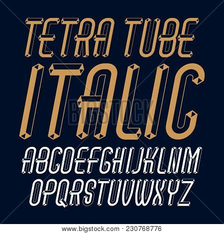 Vector Trendy Modern Capital, Uppercase Alphabet Letters, Abc Collection. Unlike Italic Condensed Ty