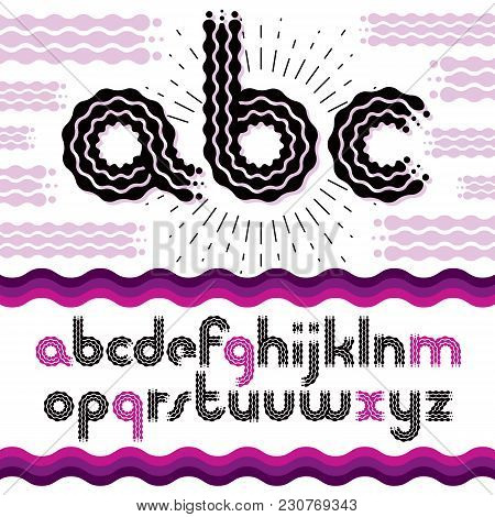 Vector Funky Lower Case English Alphabet Letters, Abc Collection. Rounded Bold Retro Type Font, Scri