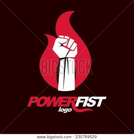 Vector Illustration Of Clenched Fist In The Burning Fire. Revolution Idea Symbol Can Be Used As Tatt