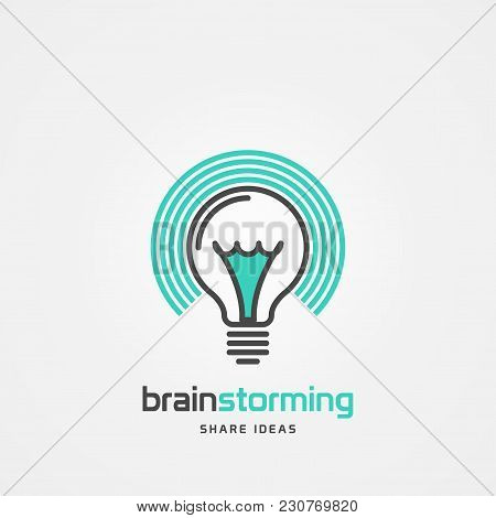 Light Bulb Symbol. Brainstorming. Sharing Ideas. Vector Illustration