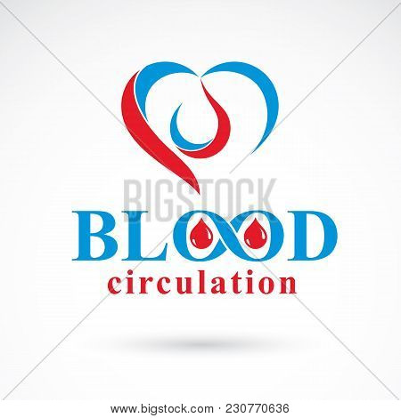 Vector Illustration Of Heart Shape. Blood Circulation Concept, Charity And Volunteer Conceptual Logo