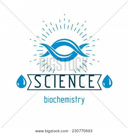 Vector Model Of Human Dna Strands. Biochemistry Research Conceptual Abstract Logotype Can Be Used As