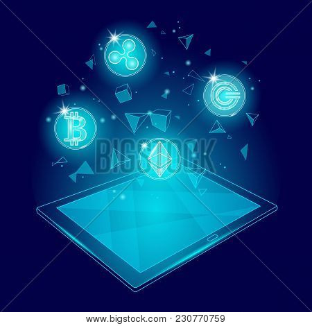 Ethereum Bitcoin Ripple Coin Digital Cryptocurrency Tablet Pc Web Online Payment. Big Data Informati
