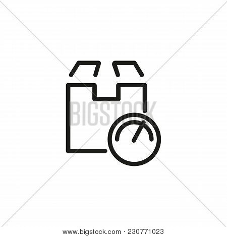 Line Icon Of Cardboard Box And Scales Sign. Parcel Weight, Distribution Center, Warehouse. Delivery