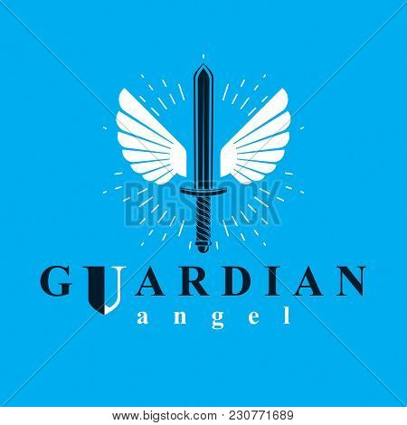 Vector Graphic Illustration Of Sword Composed With Bird Wings, War And Freedom Metaphor Symbol. Guar