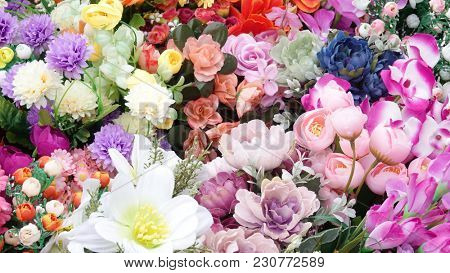 Artificial flowers colorful bouquet variety synthetic silk blooms huge varied arrangement