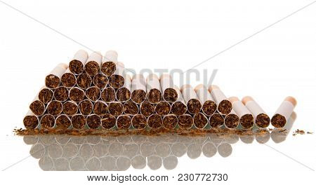 Lot Of Cigarettes, Laid On Top Of Each Other Isolated On White Background