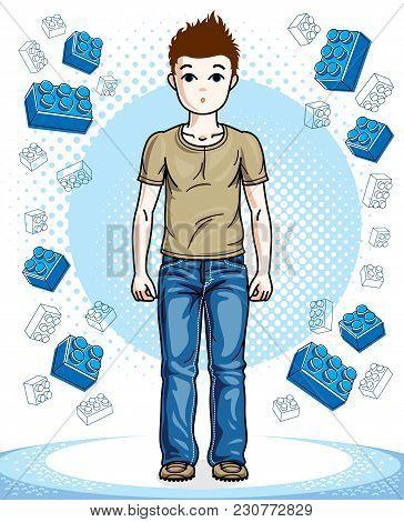 Beautiful Happy Young Teenager Boy Posing Wearing Fashionable Casual Clothes. Vector Beautiful Human