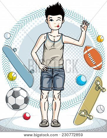 Little Boy Standing Wearing Casual Clothes. Vector Pretty Nice Human Illustration. Fashion And Lifes