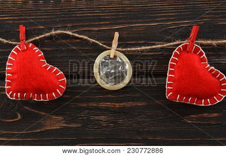 Red Heart And Condom