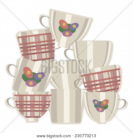 Group Of Vector Light Ceramic Tea Cups With Red Cages And Flowers Made Up One On Top Of Another Isol