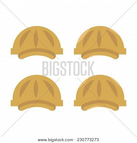 Set Of Four Vector Plastic Construction Yellow Hard Hat With Visors Isolated On White Background