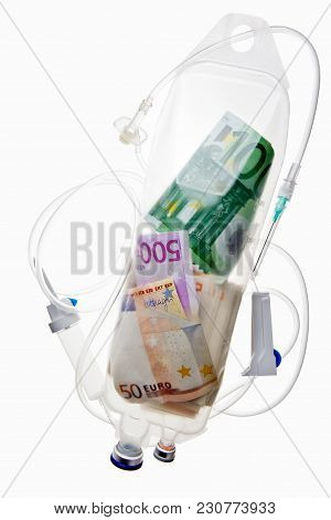 Money In Drip Chamber. Global Problem Concept