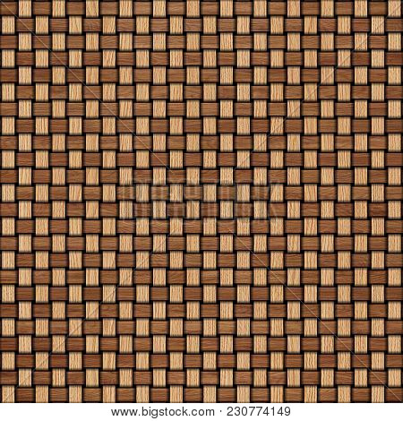 Wooden Weave Texture Background. Abstract Decorative Wooden Textured Basket Weaving Background. Seam