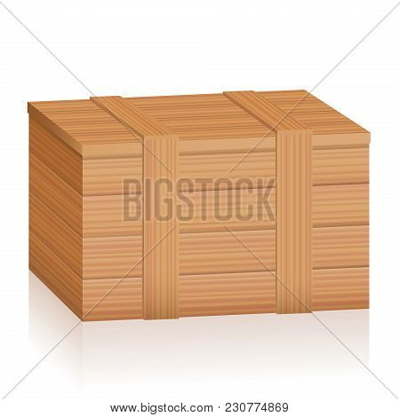 Wooden Box. Tightly Closed Timber Crate With Wood Texture And Planks - Isolated Vector Illustration