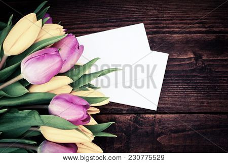 bouquet of fresh tulips for mothers' day