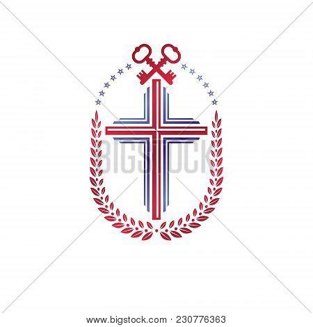 Christian Cross Decorative Emblem Composed With Security Keys. Heraldic Vector Design Element. Retro
