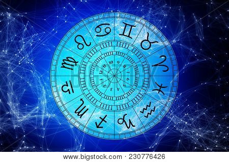 Zodiac Astrology Signs For Horoscope, Simple Lineart Illustration