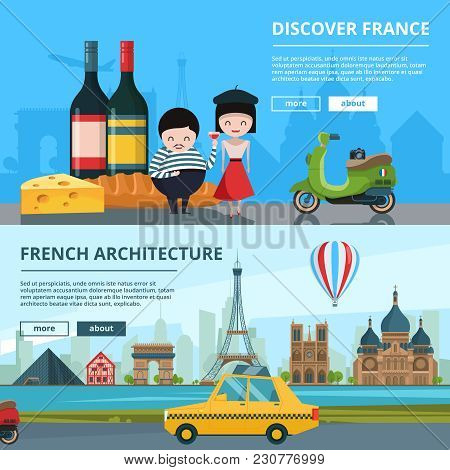 Banners Set Of French Landmarks. Vector Paris Travel Poster. Illustration Of Eiffel Tower, Cheese An