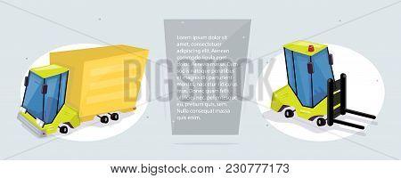 Cargo Transportation And Logistics. Web Banner. Funny Cartoon Style.