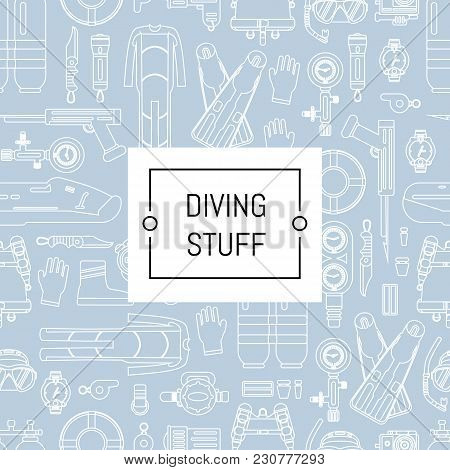 Vector Underwater Diving Linear Style Background With Place For Text. Underwater Sport Diving Patter