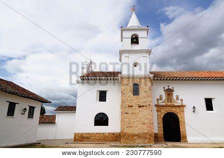 Beautiful White Villa With Shingle Roofs Hidden Behind Walls In Colonial Villa De Leyva. Iglesia Del