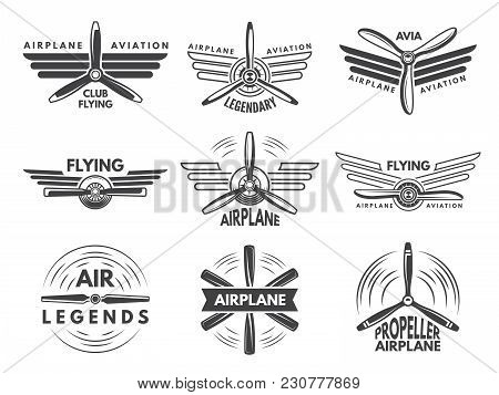 Labels An Logos For Military Aviation. Aviator Symbols In Monochrome Style. Aviation And Airplane Em