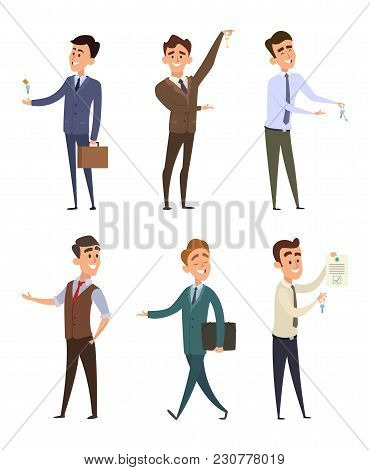 Real Estate Agents Selling Different Buildings. Set Of Business Characters. Agent Realtor Character