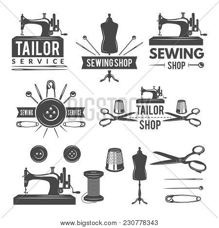 Vintage Monochrome Pictures And Labels For Tailor Shop. Logos For Textile Production. Vector Worksho