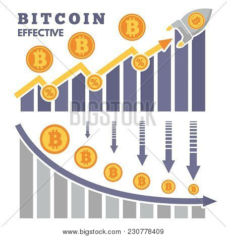 The Rise And Fall Of Bitcoin On Exchange Of Cryptocurrency. Money Currency Bitcoin, Exchange Rise Fi