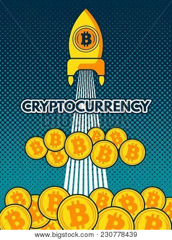 Cryptocurrency Background Illustration. Bitcoin To The Moon. Crypto Currency, Coin Money Electronic,