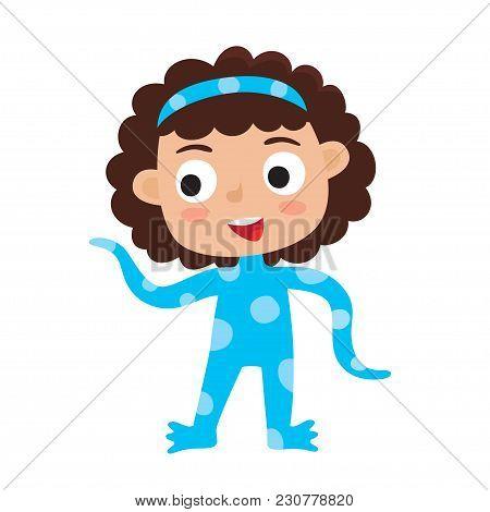 Vector Set Of Cute Cartoon Kid In Colorful Halloween Costume: Alien. Cartoon Character Design Of Gir