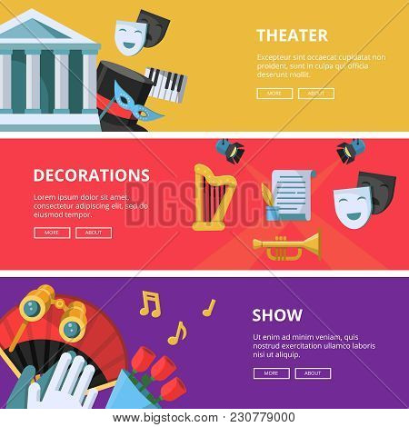 Performance Or Theatre Illustrations. Horizontal Banners Performance Tragedy And Theatrical Poster V