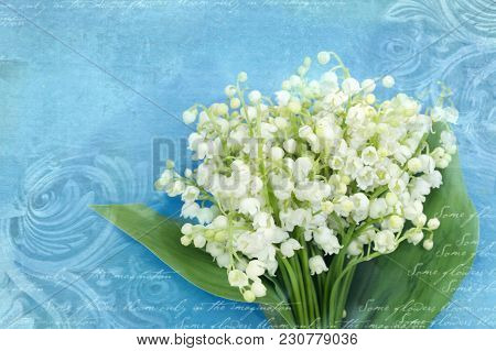 Bouquet Of Lilies Of The Valley On A Grunge Blue Background With Architectural Details Meander, Capi